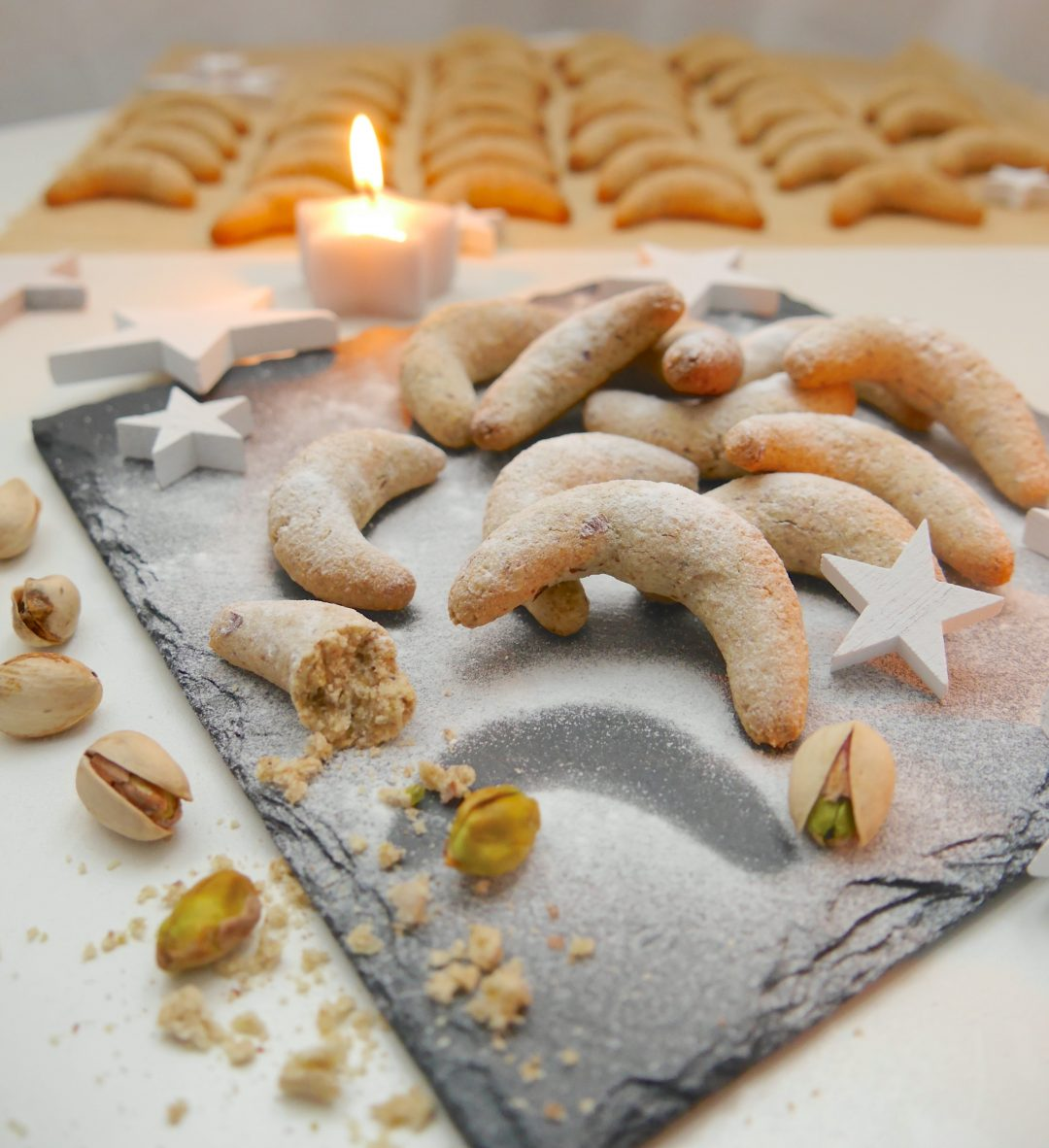 Gesunde Weihnachtsplätzchen – Pistazienkipferl