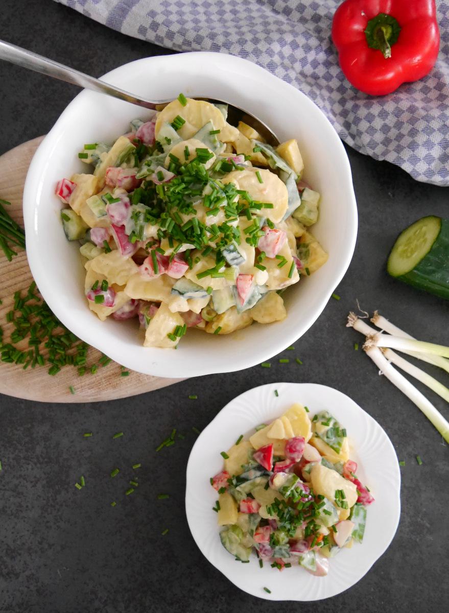 Kartoffelsalat vegan mit Soja-Dressing